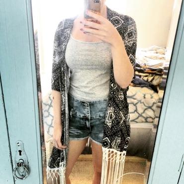 ootd, fashion, kimono, spring, shorts, tank